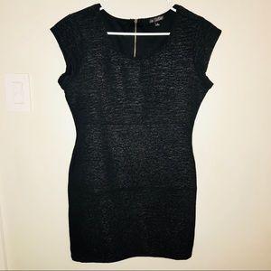 BeBop black body con, cap slv, shimmer dress. Sz L